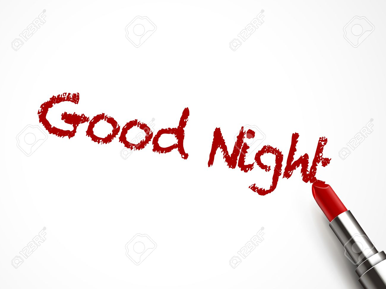 Good Night Words Written By Red Lipstick On White Background Royalty