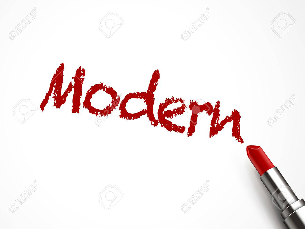 modern word written by red lipstick on white background royalty free