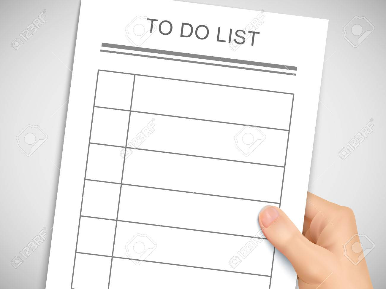 business concept 3d hand holding to do list over grey background