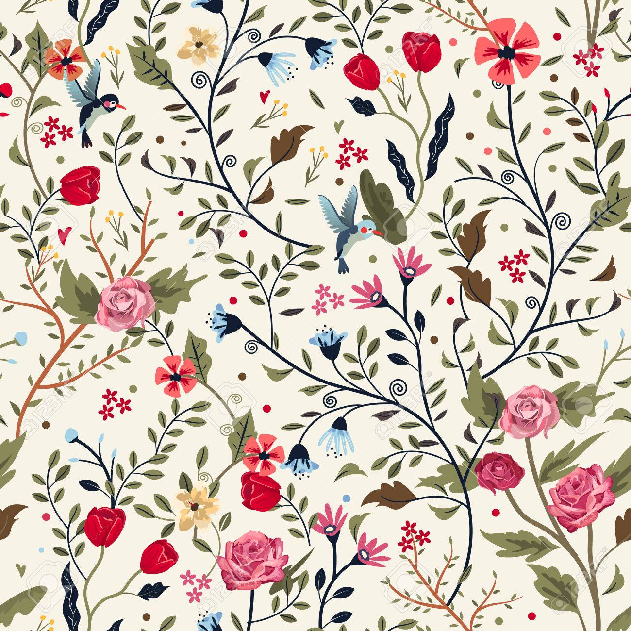 Colorful Adorable Seamless Floral Pattern Over Beige Background
