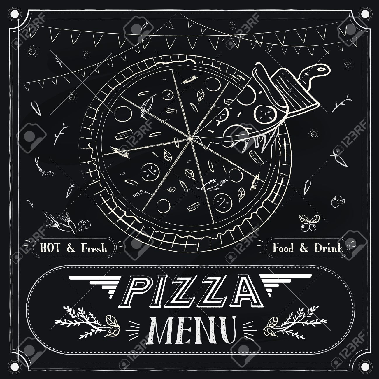 Creative Pizza Menu Design Over Black Background Stock Vector