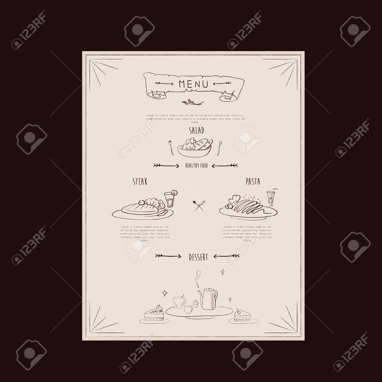 Elegant Restaurant Menu Design With Hand Drawn Food Graphics Royalty Free Cliparts Vectors And Stock Illustration Image 37172724