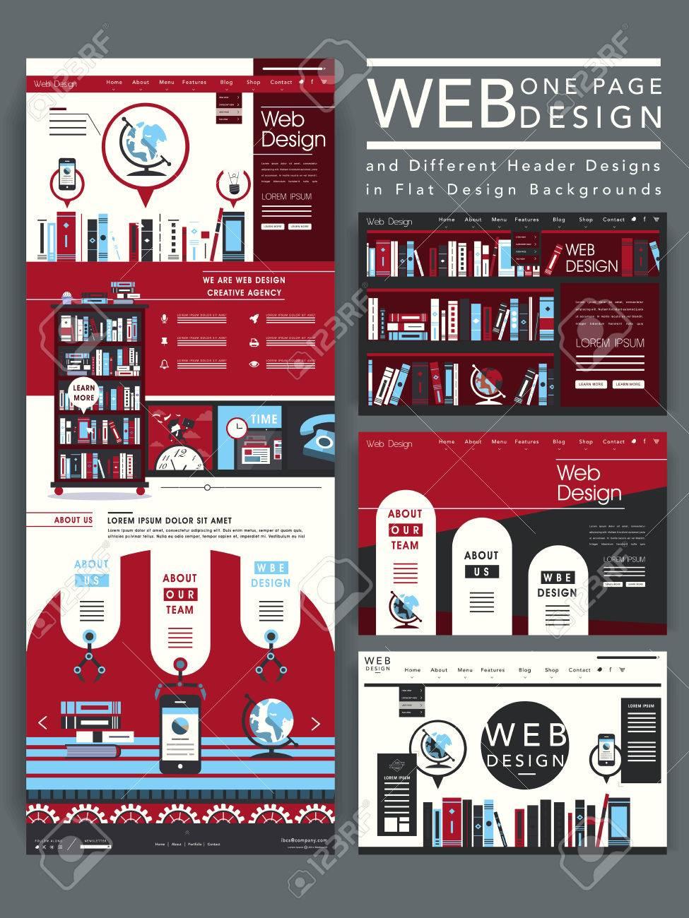 Atractiva Una Página Web Plantilla De Diseño Con Elemento Libros ...