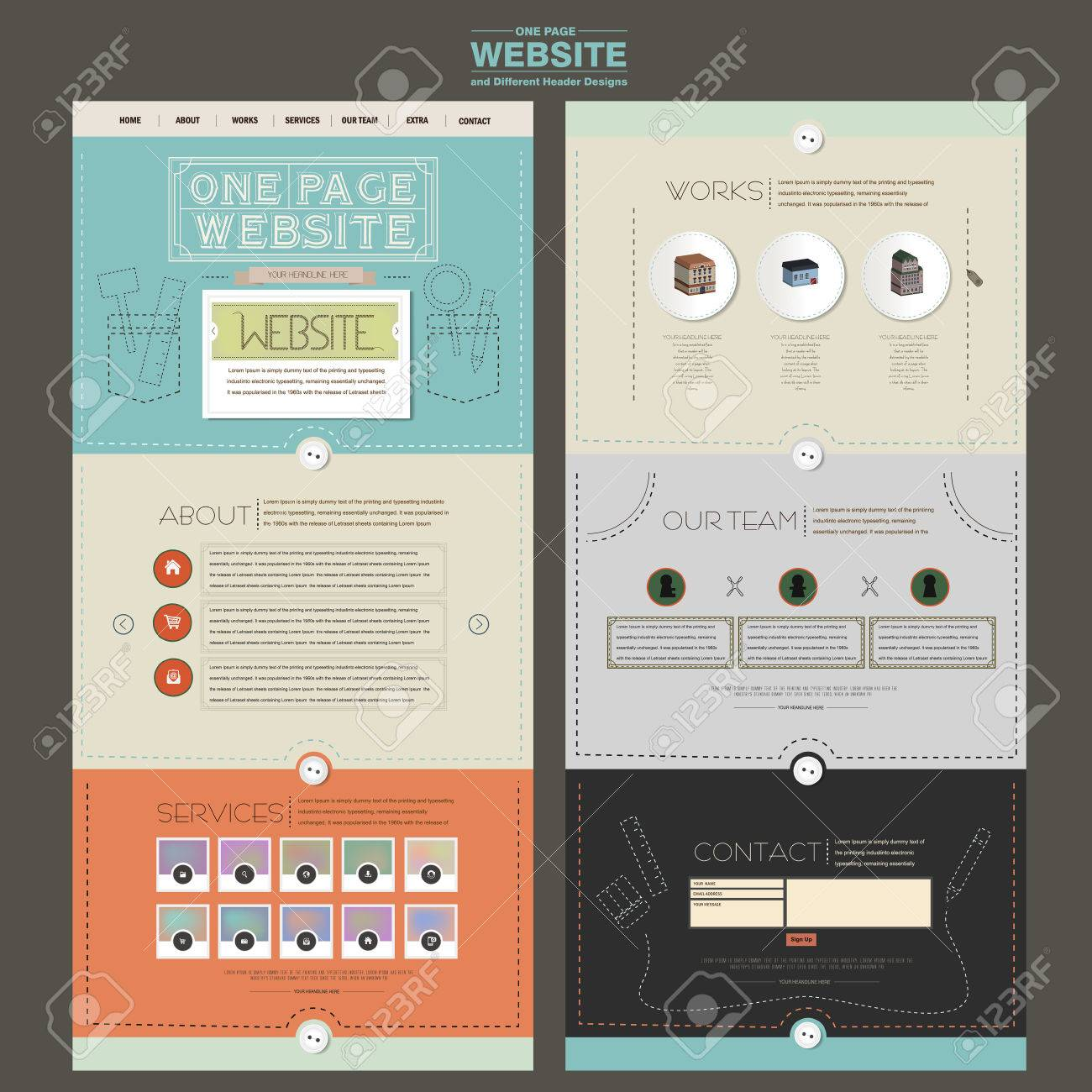 adorable one page website design template with sewing thread