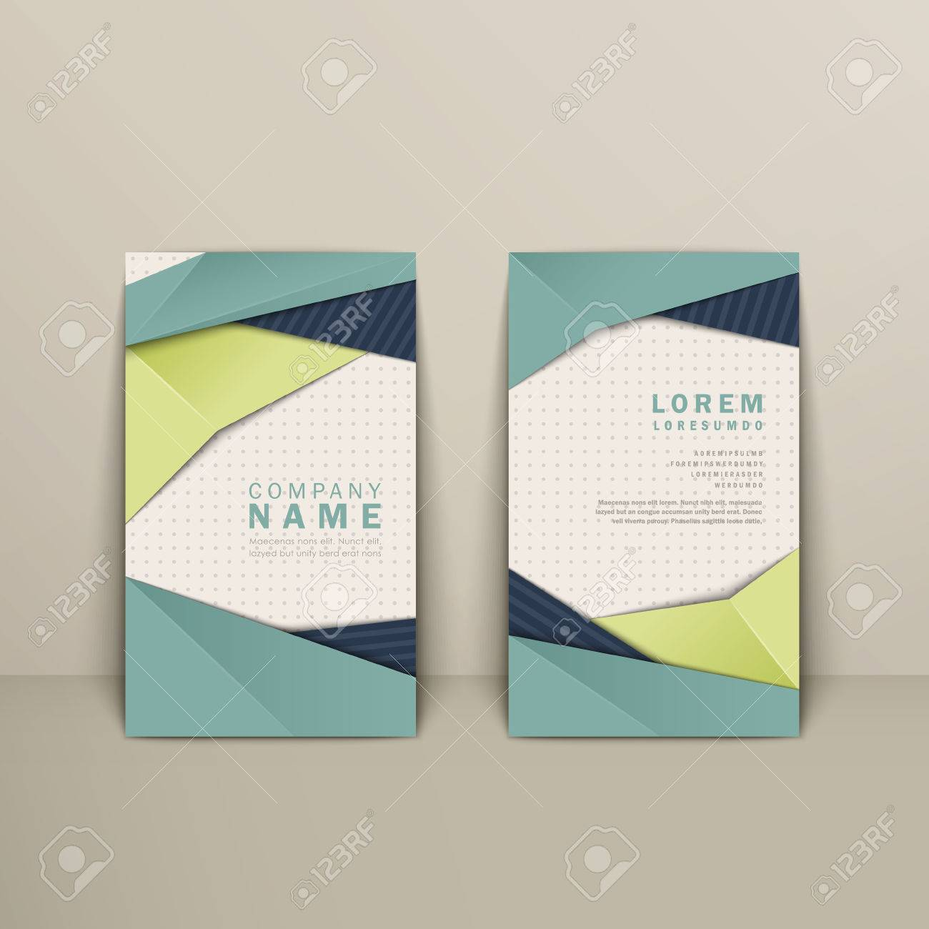 Trendy business card design with origami style elements in blue trendy business card design with origami style elements in blue and green stock vector 37964924 jeuxipadfo Gallery