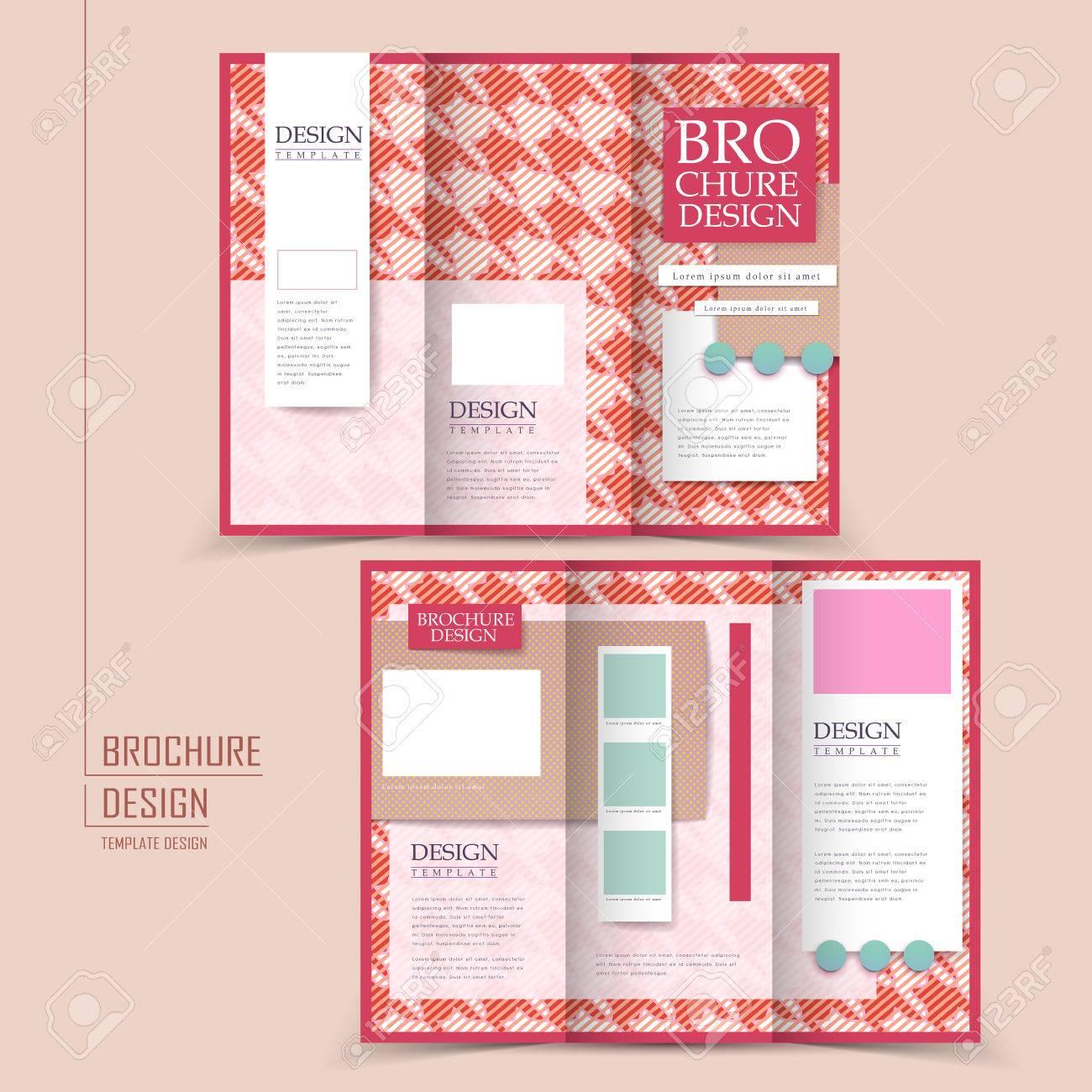 modern houndstooth background tri fold brochure design in pink color stock vector 37964979