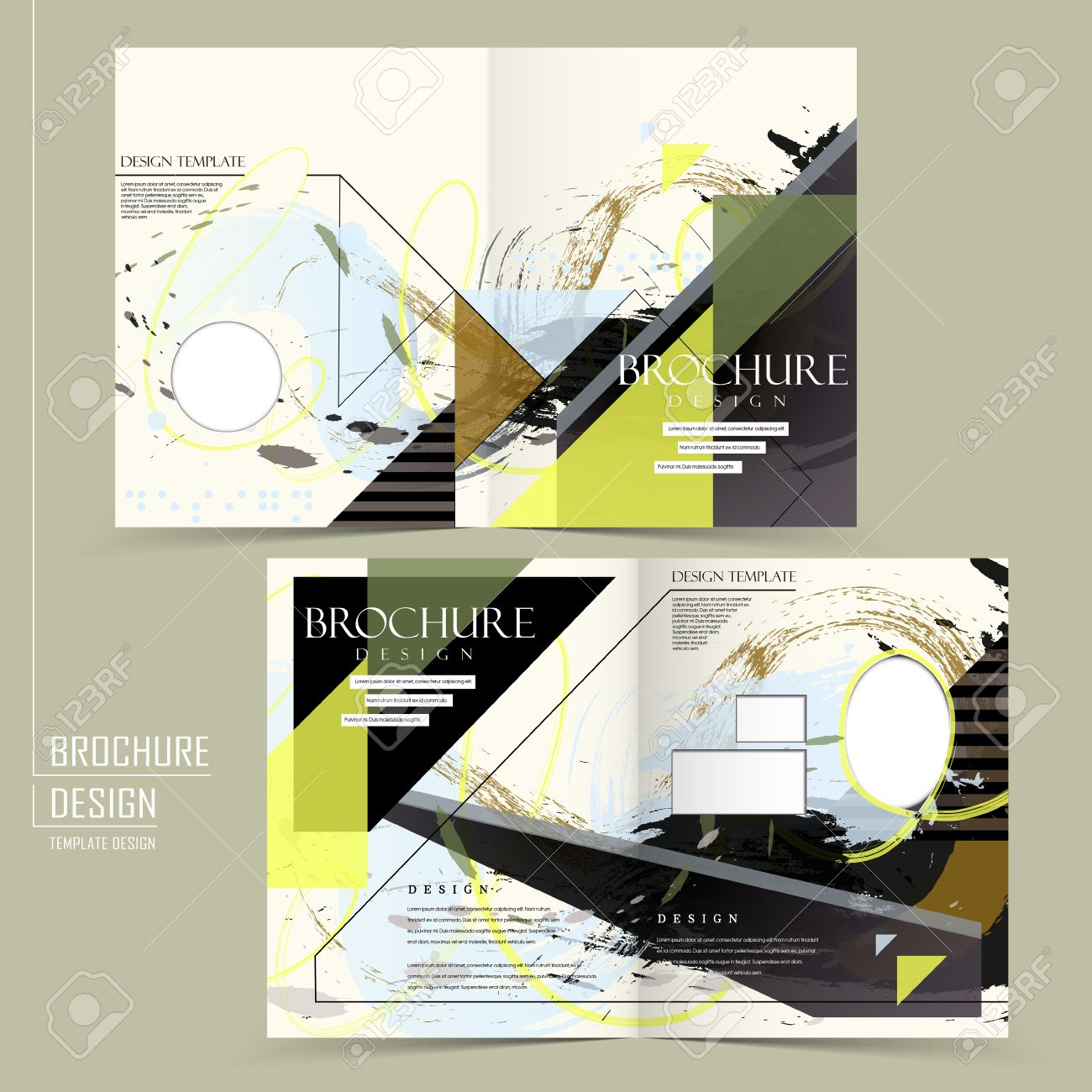 creative half fold brochure design with painting stroke in