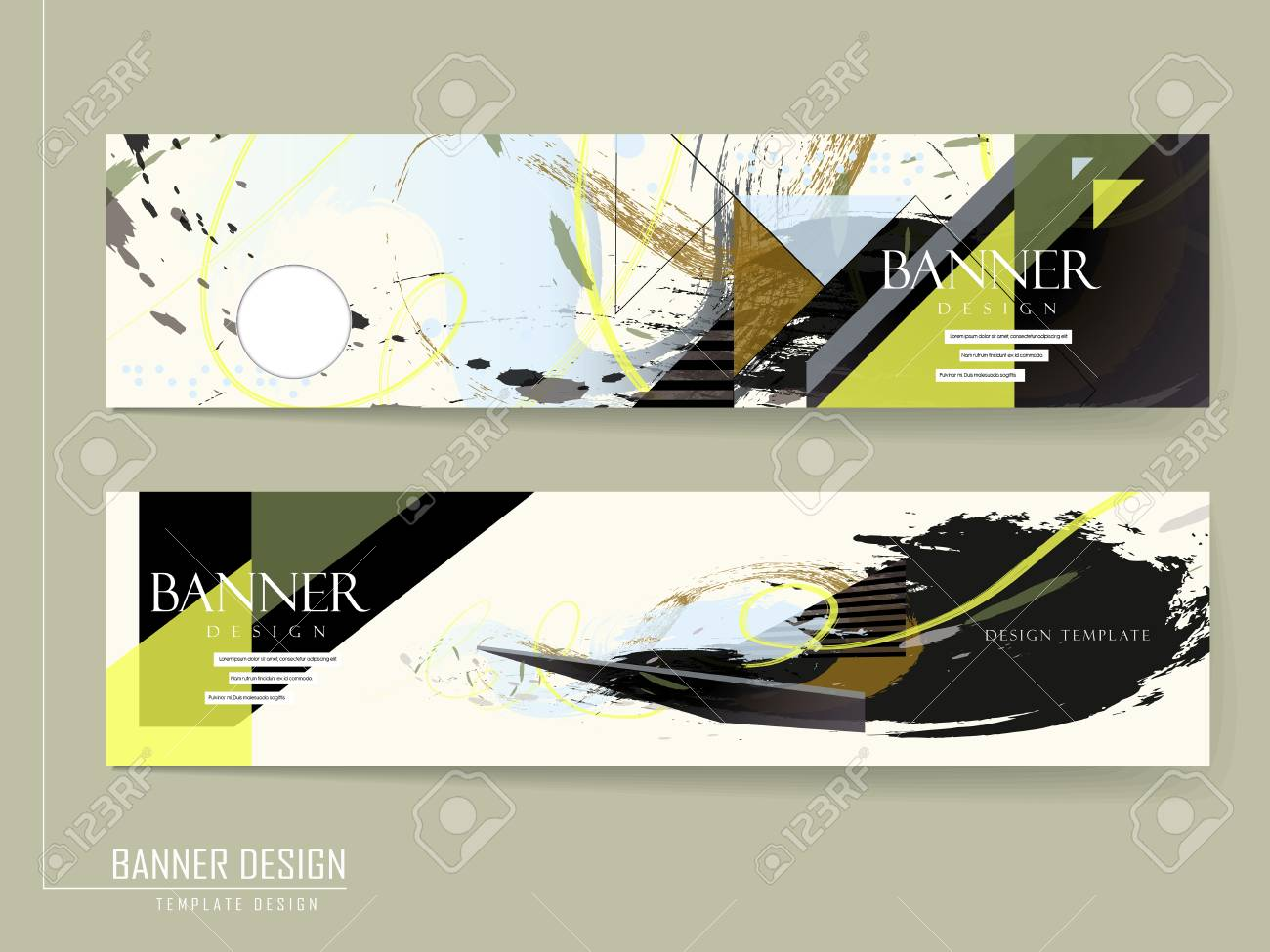 creative banner design with painting stroke in multicolor royalty free cliparts vectors and stock illustration image 37965042 123rf com