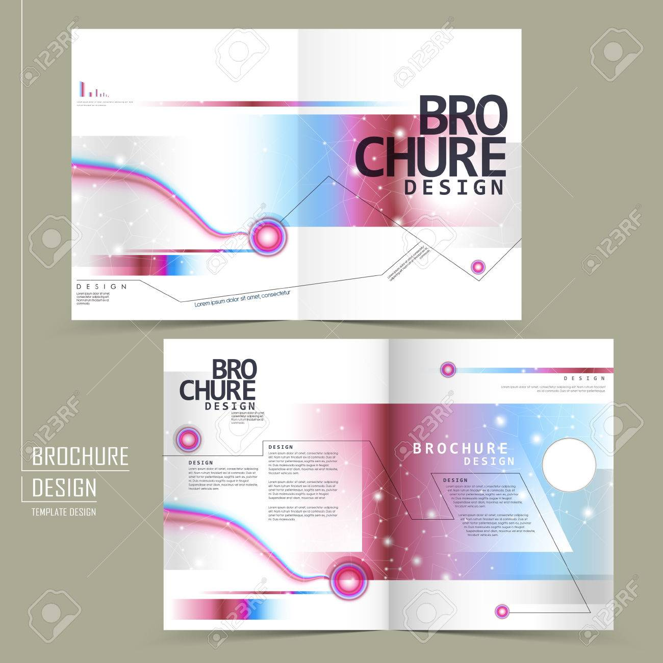 fashionable half fold brochure design with geometric glitter