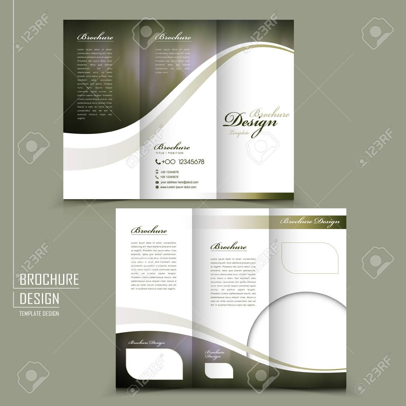 graceful tri fold brochure template design in elegant golden