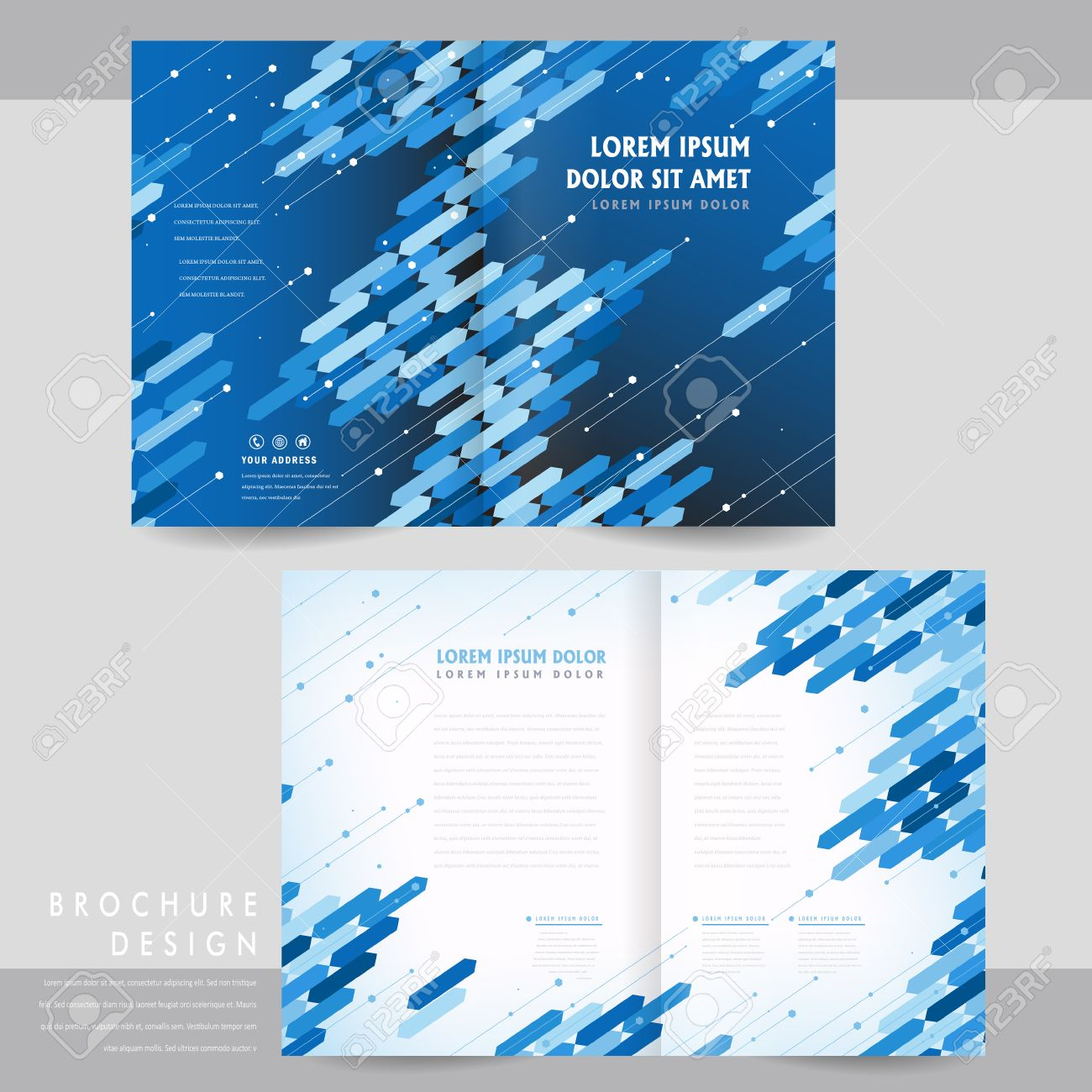 high tech half fold brochure template design with blue geometric