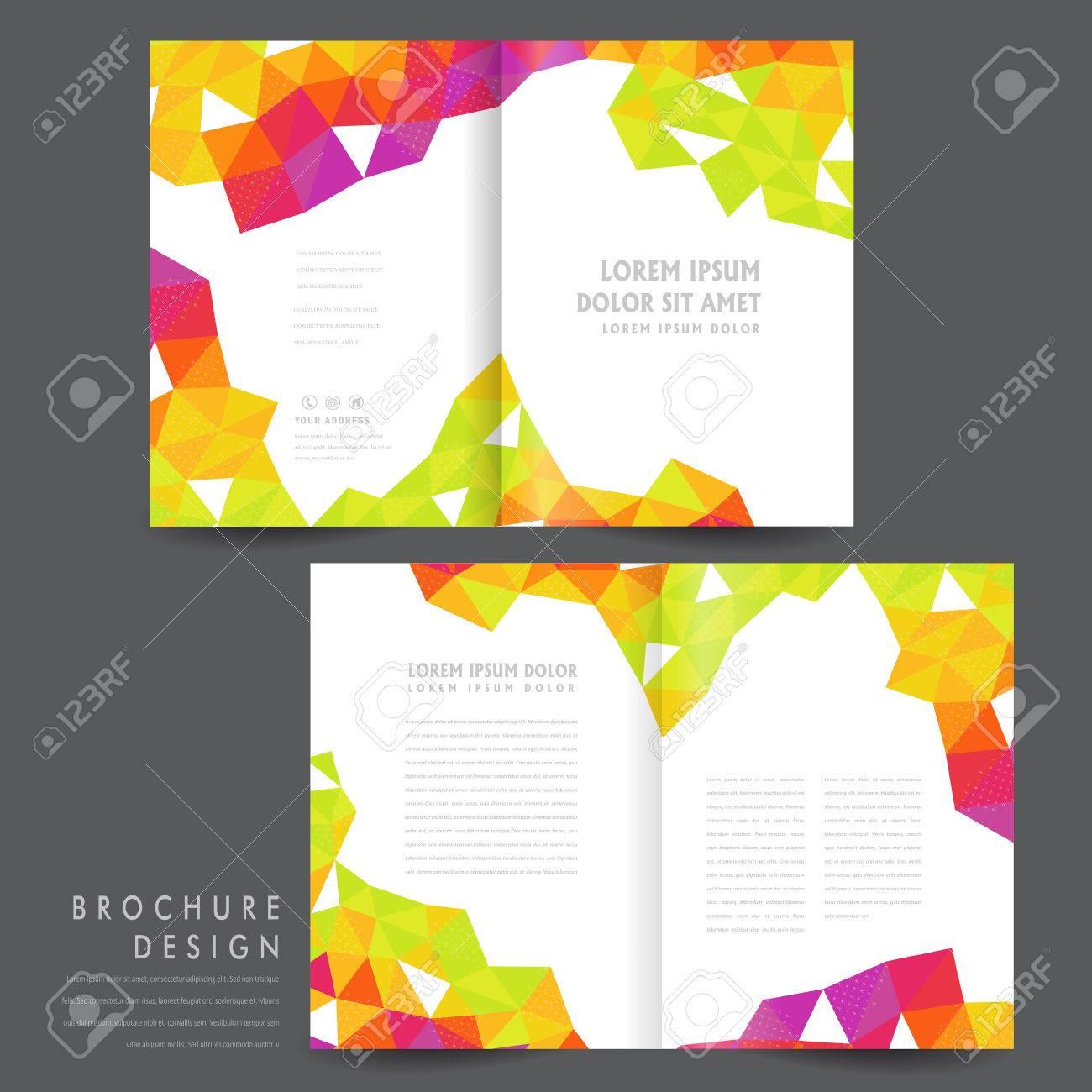 Attractive Halffold Brochure Template Design With Colorful - Half fold brochure template free
