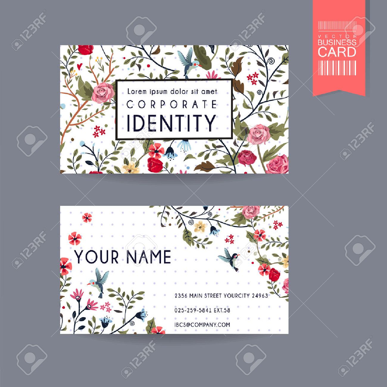 graceful business card design with lovely floral pattern over purple spotted white background Stock Vector - 37966786