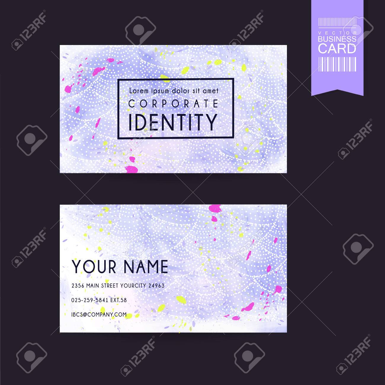 Adorable purple business card template design with colorful stained adorable purple business card template design with colorful stained stock vector 37966787 reheart Gallery