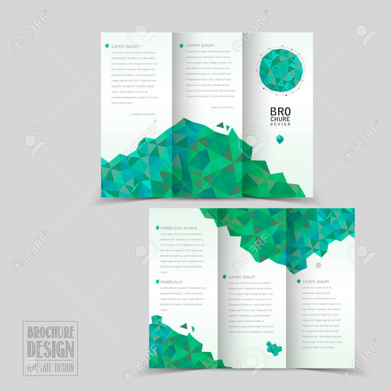 Simplicity Trifold Brochure Template Design With Geometric - Fold brochure template