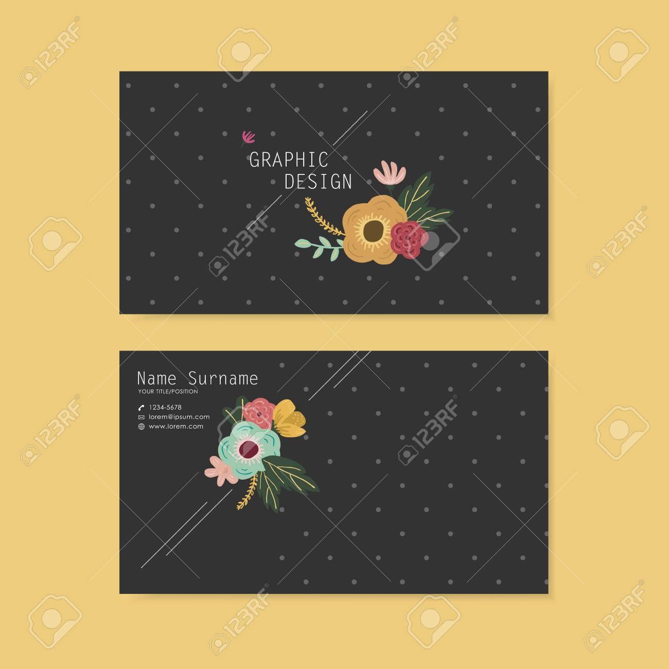 Lovely Business Card Design With Elegant Flower Element Over ...