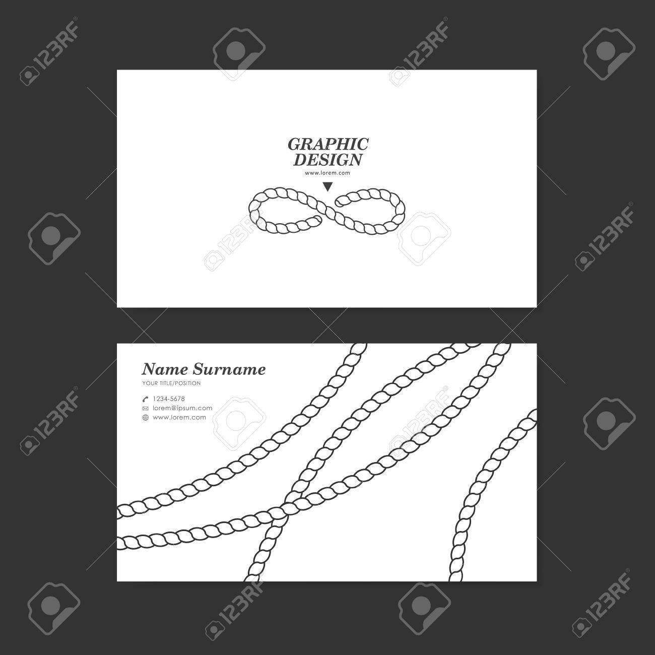 Graceful Business Card Template Design With Elegant Rope Pattern .  Line Card Template