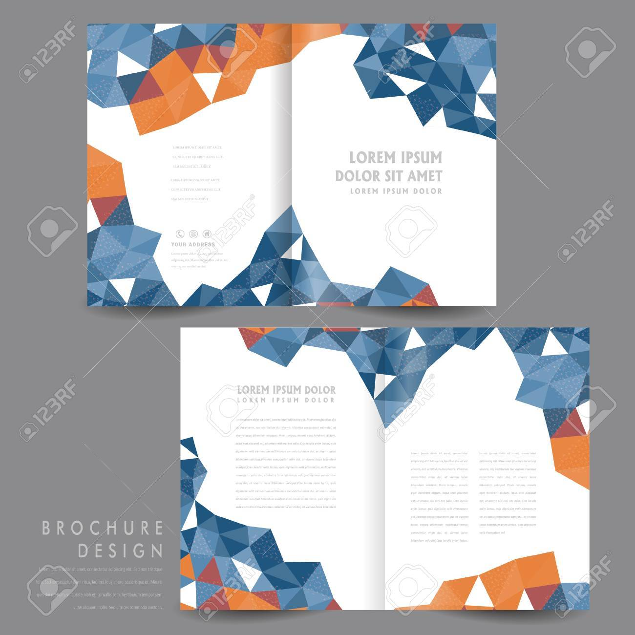attractive half fold brochure template design with polygon elements in orange and blue stock vector