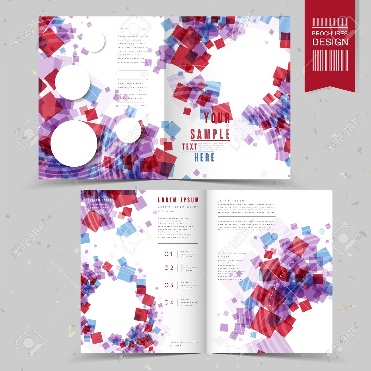 lovely half fold brochure template design with translucent squares in red and blue color stock