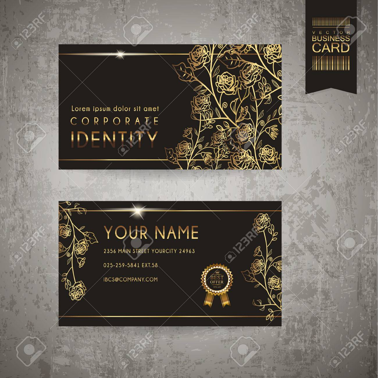 Luxurious floral business card template design in golden and black imagens luxurious floral business card template design in golden and black reheart Gallery