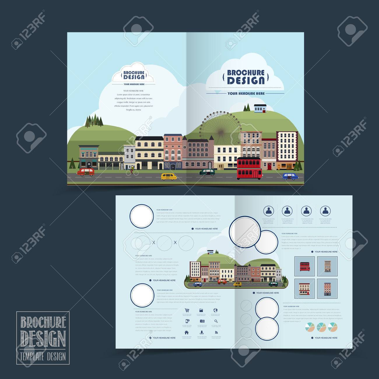 Adorable Town Scenery Halffold Brochure Template In Flat Design - Half fold brochure template free