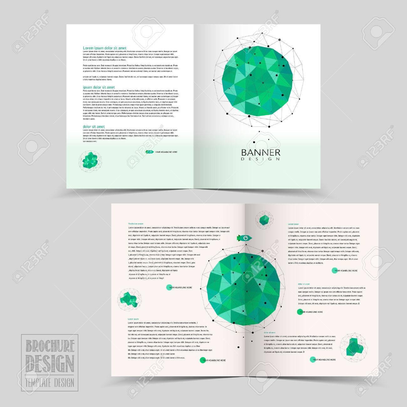 simplicity half fold brochure template design with geometric