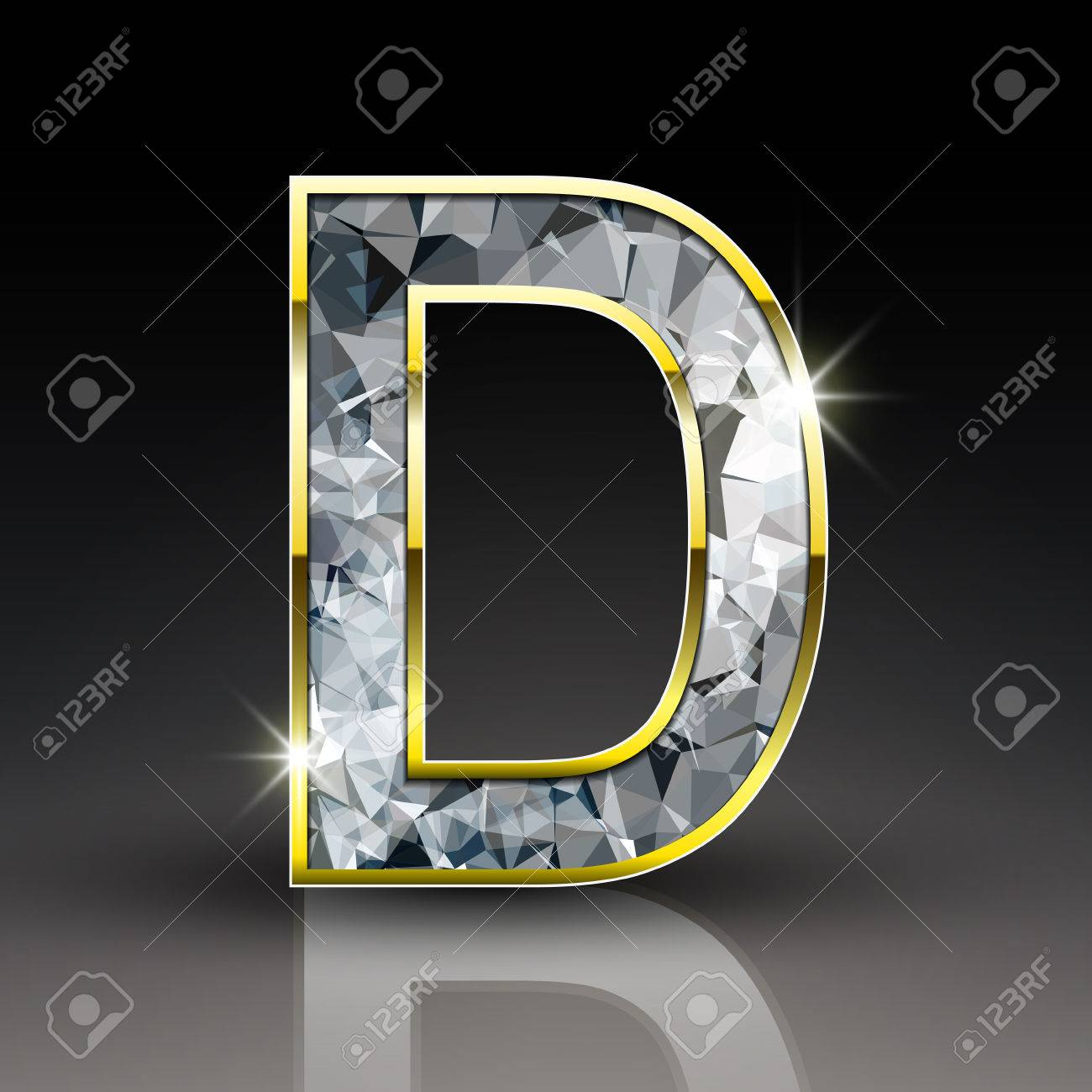 34ee6b1ccc1e 3d shiny diamond letter D isolated on black background Stock Vector -  38110711
