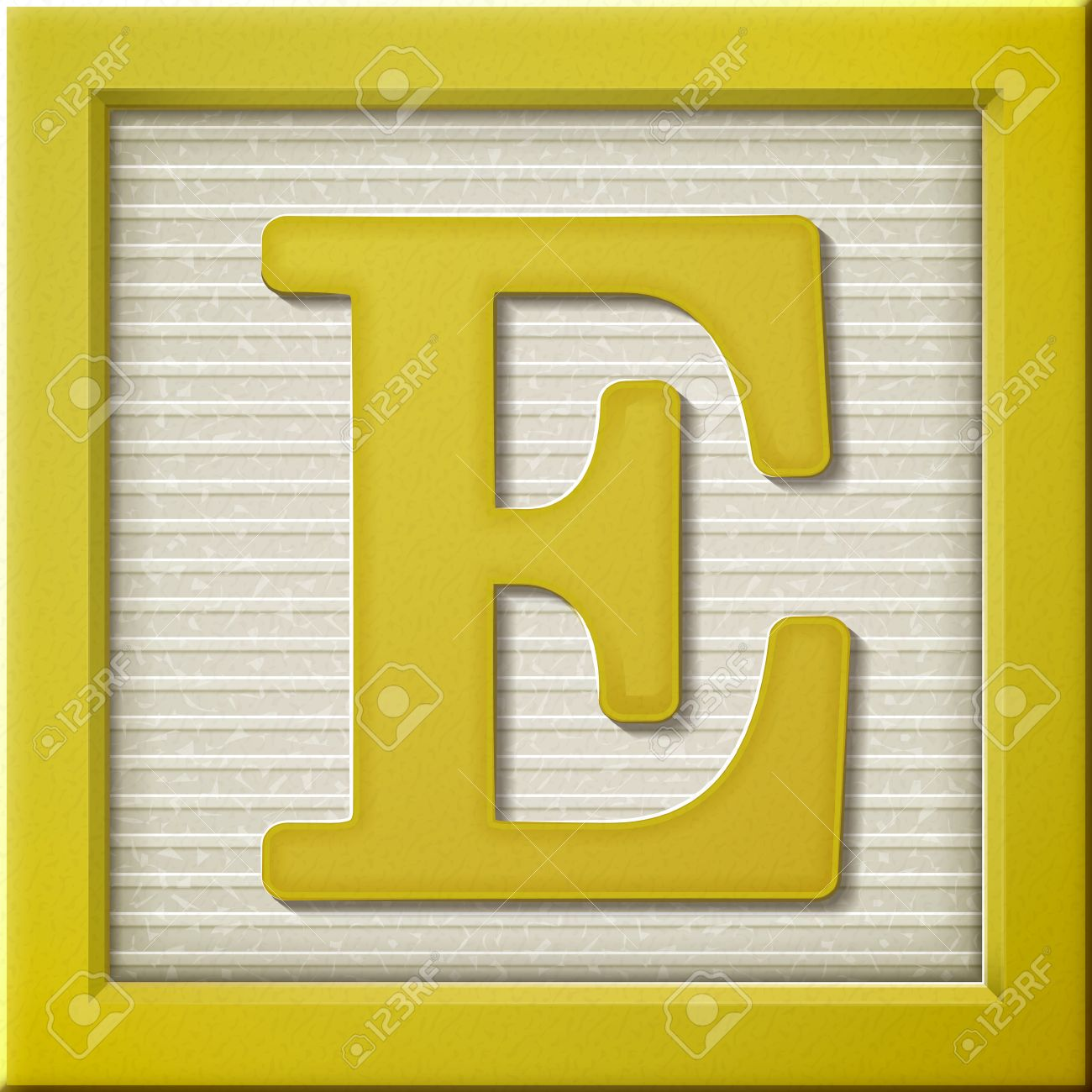 Close Up Look At 3d Yellow Letter Block E Royalty Free Cliparts