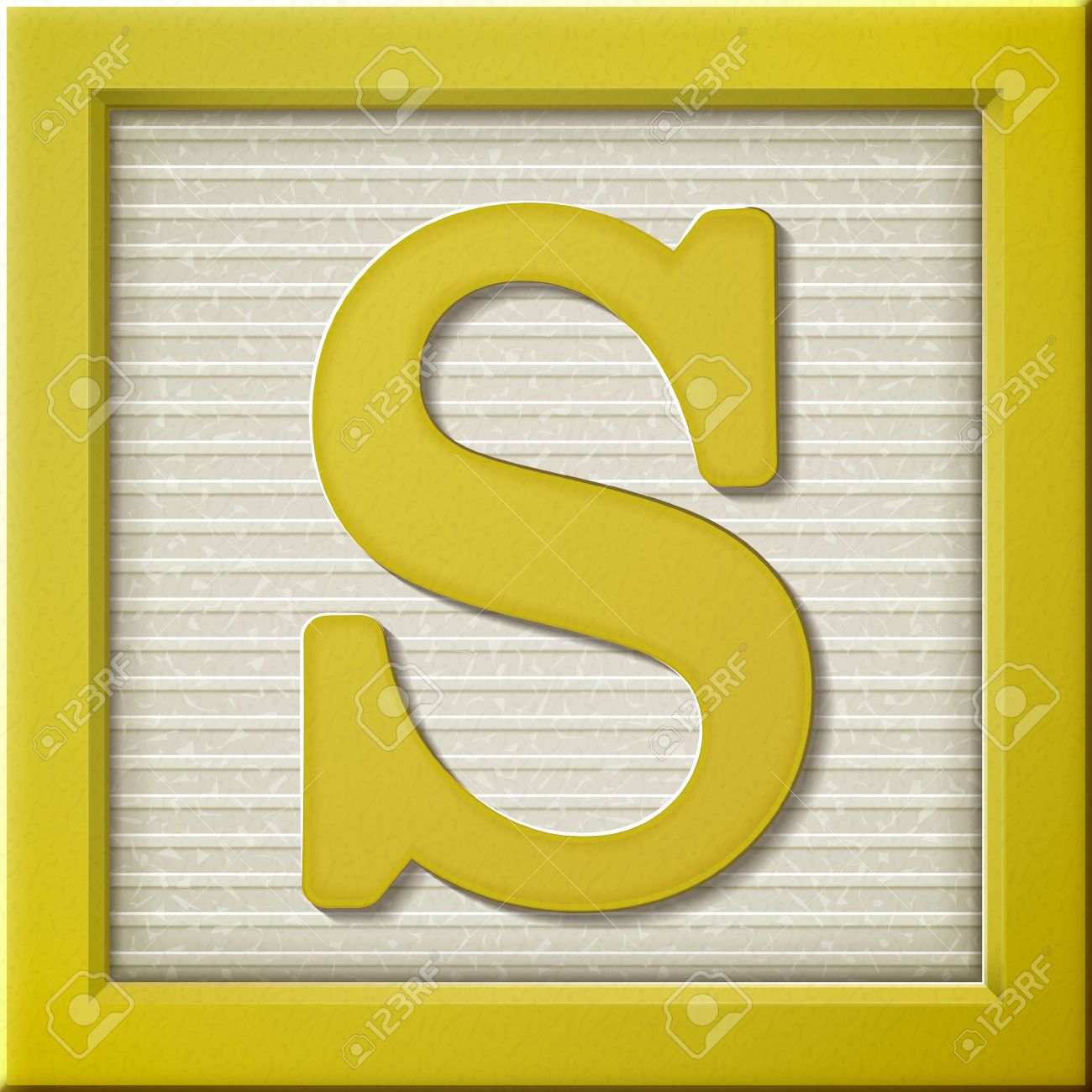 Close Up Look At 3d Yellow Letter Block S Royalty Free Cliparts