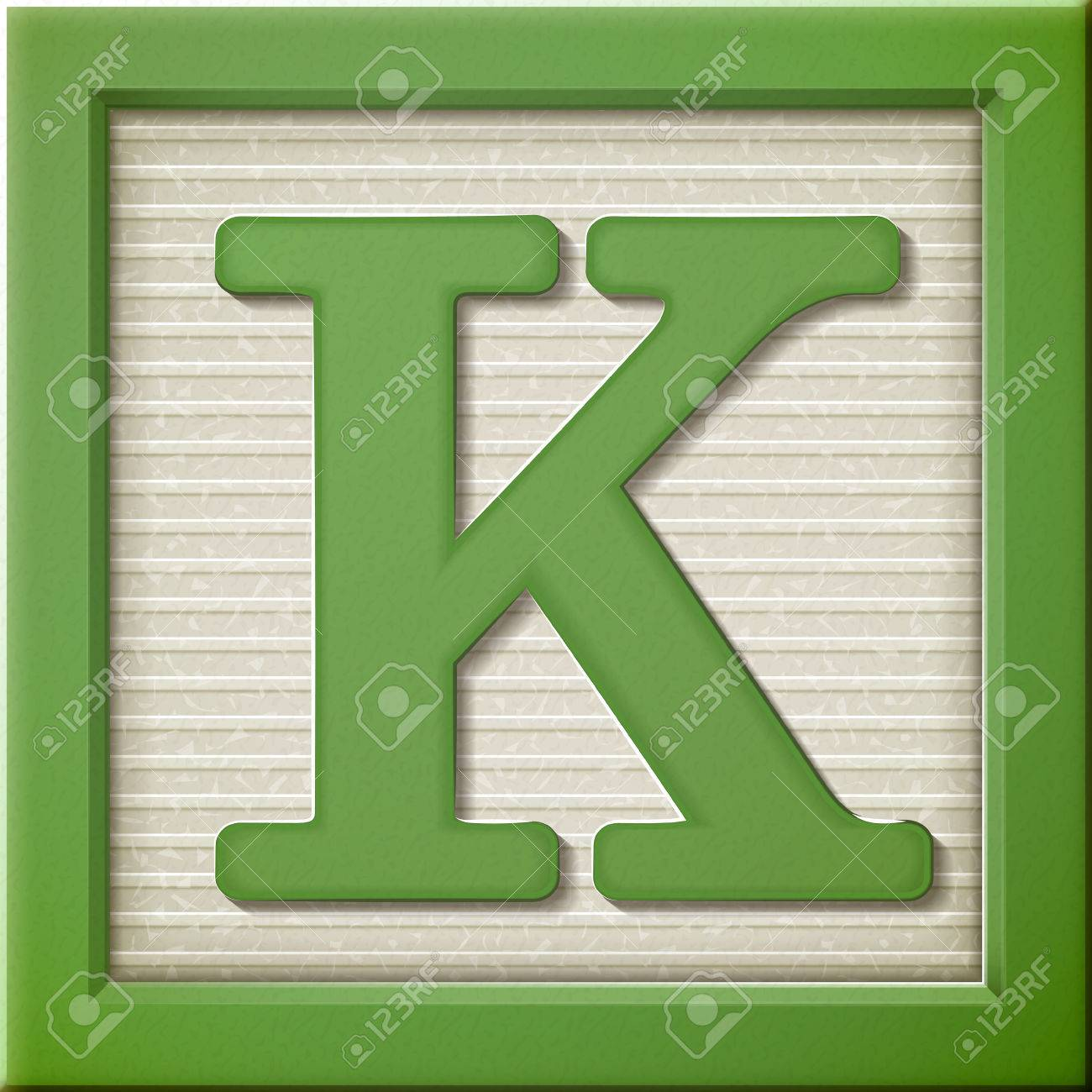 close up look at 3d green letter block k stock vector 38528013