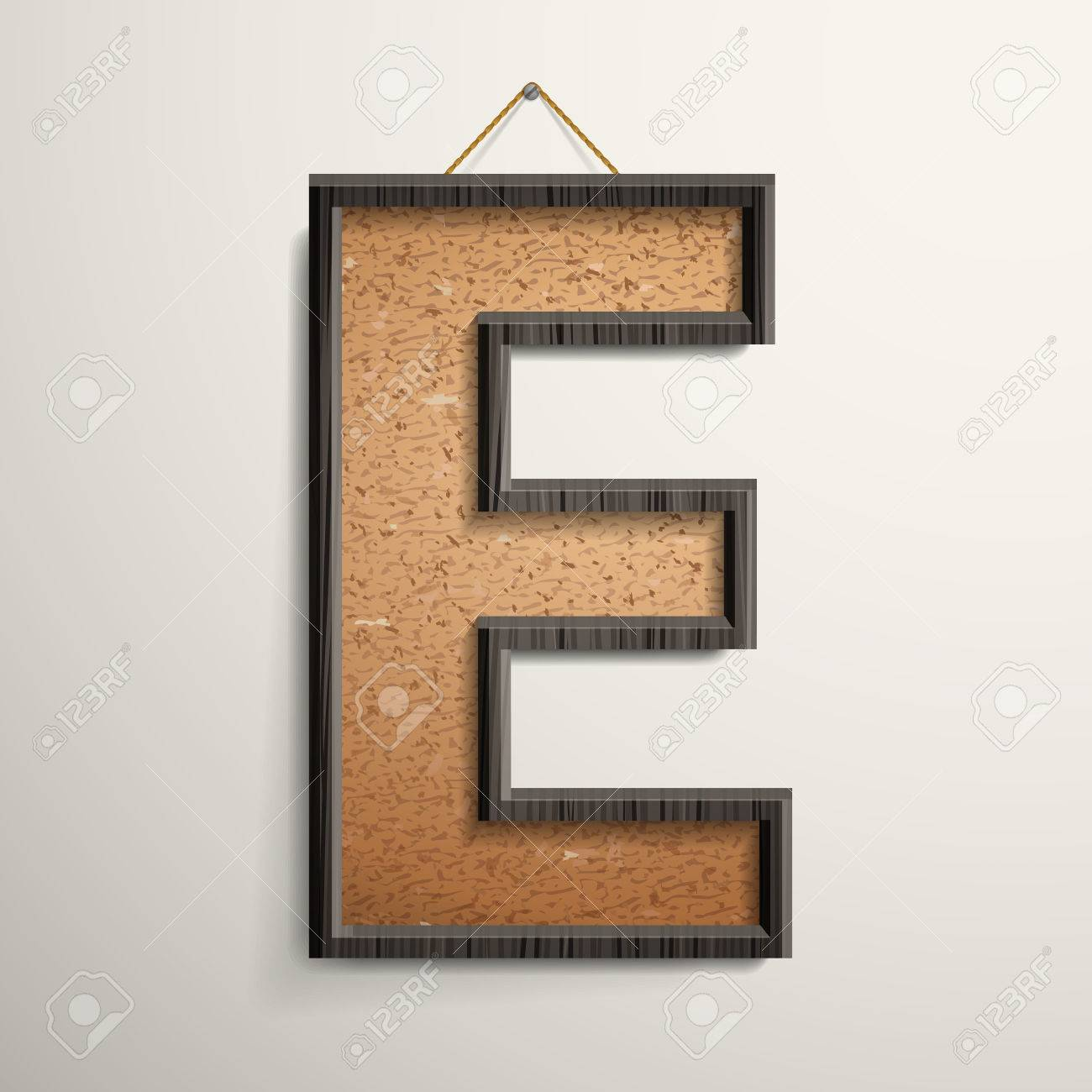 3d Wooden Frame Cork Board Letter E Isolated On Beige Background ...