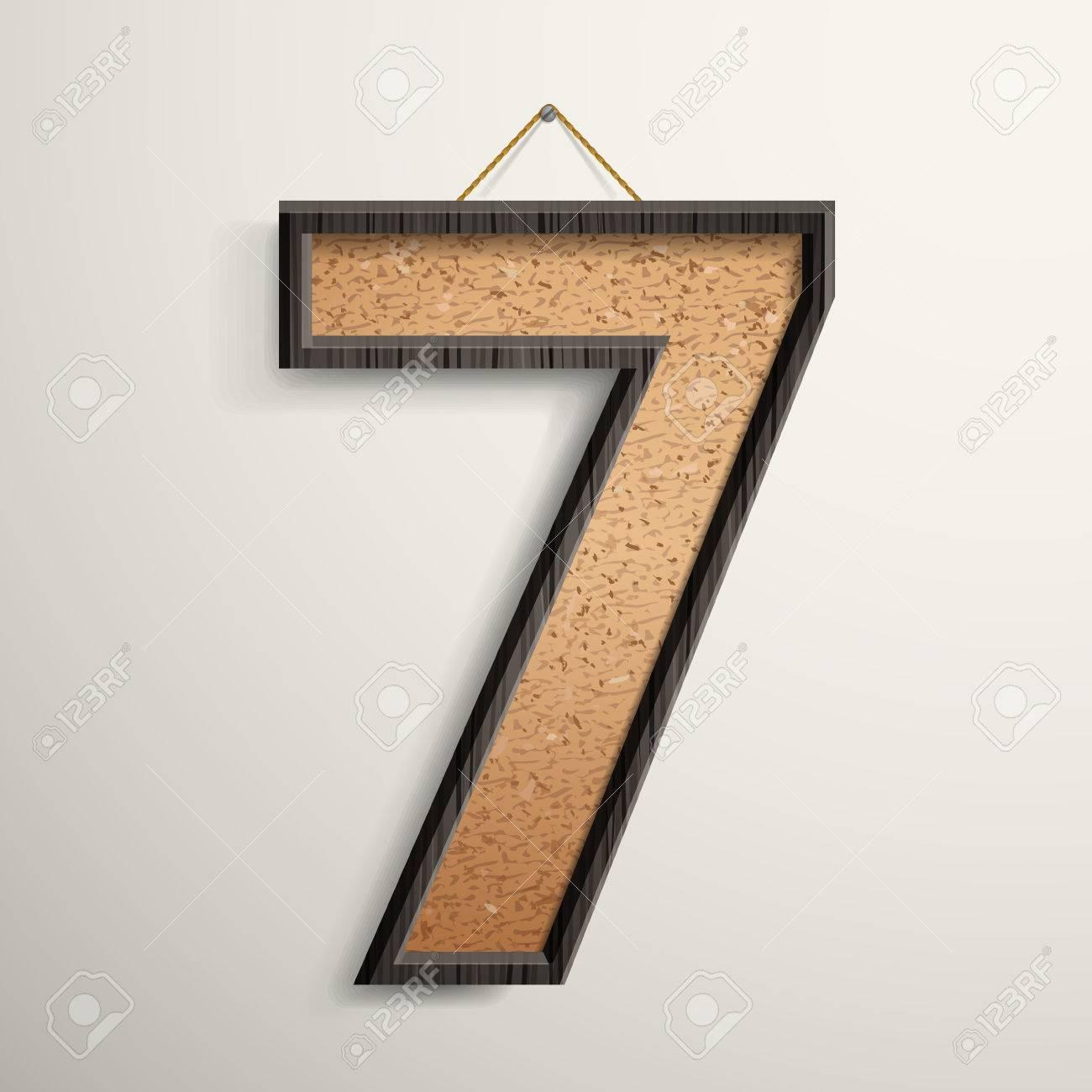 3d Corcho Marco De Madera Placa Número 7 Aisladas Sobre Fondo Beige ...