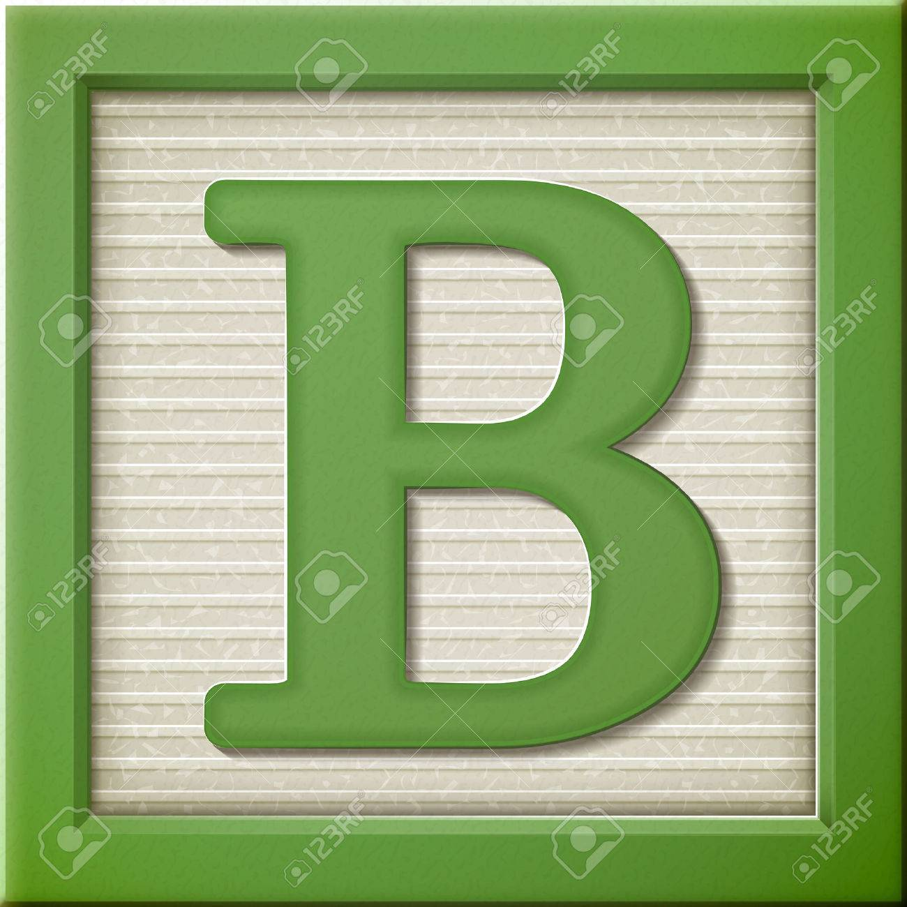 Close Up Look At 3d Green Letter Block B Royalty Free Cliparts