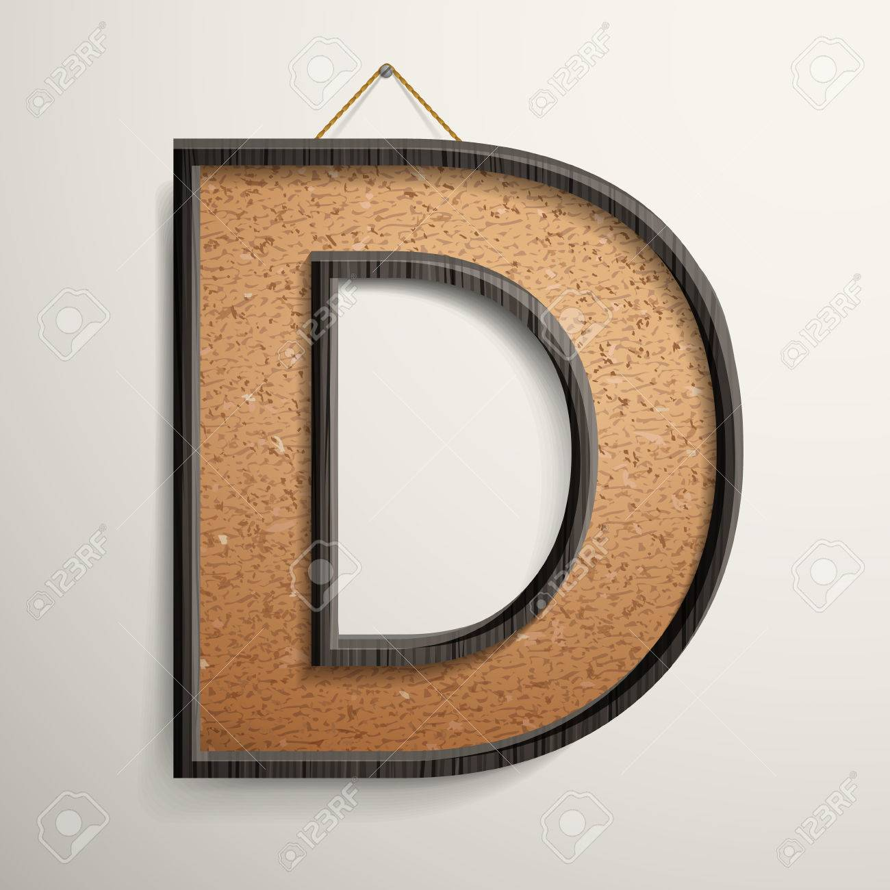 3d Wooden Frame Cork Board Letter D Isolated On Beige Background ...