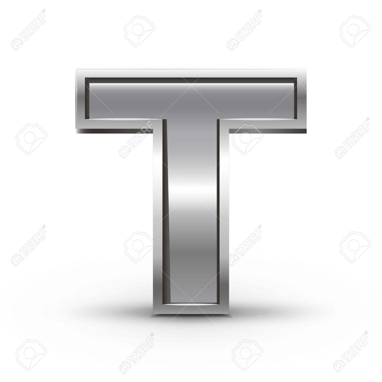 Metal Letter T 3D Metal Letter T Isolated On White Background Royalty Free