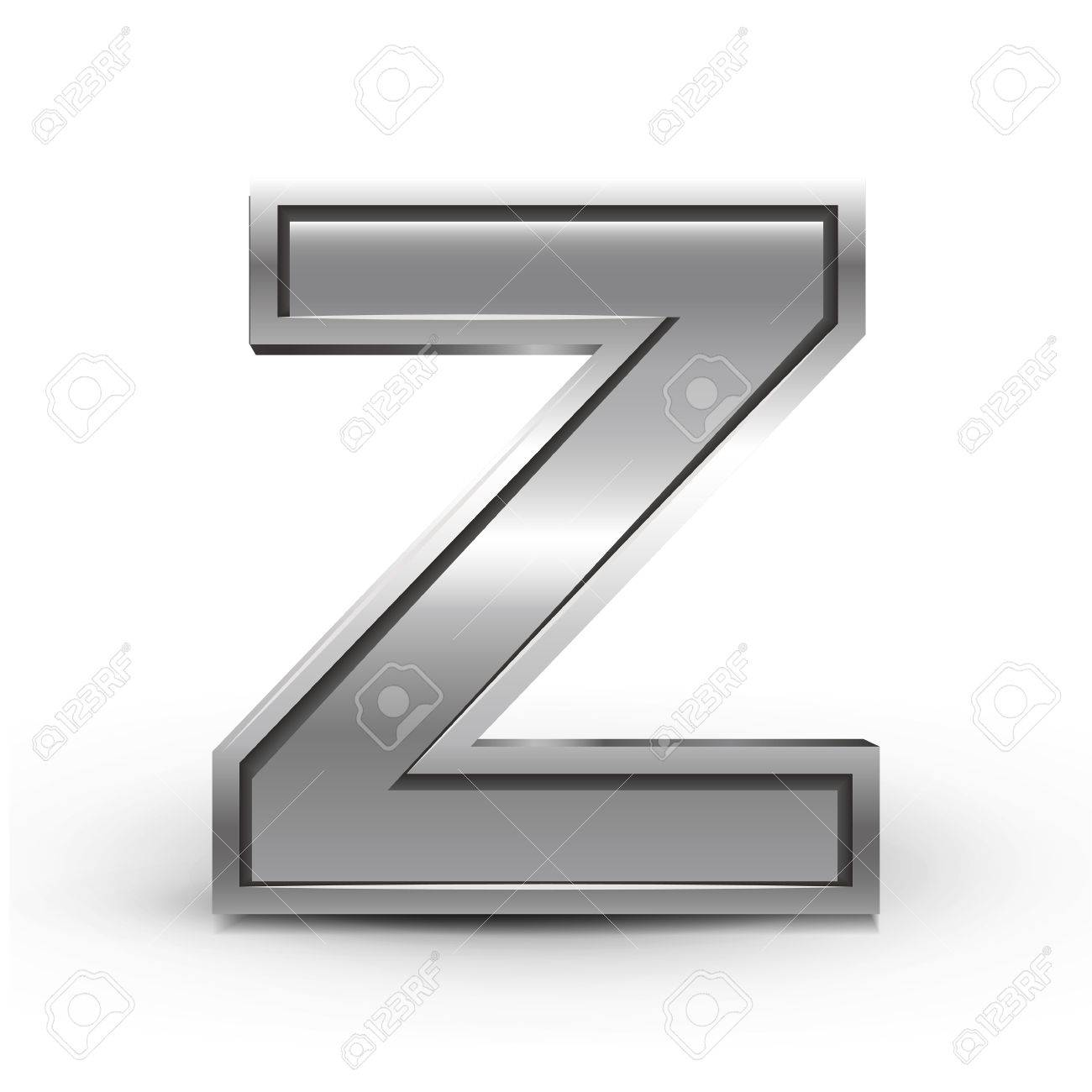 3d Metal Letter Z Isolated On White Background Royalty Free Cliparts
