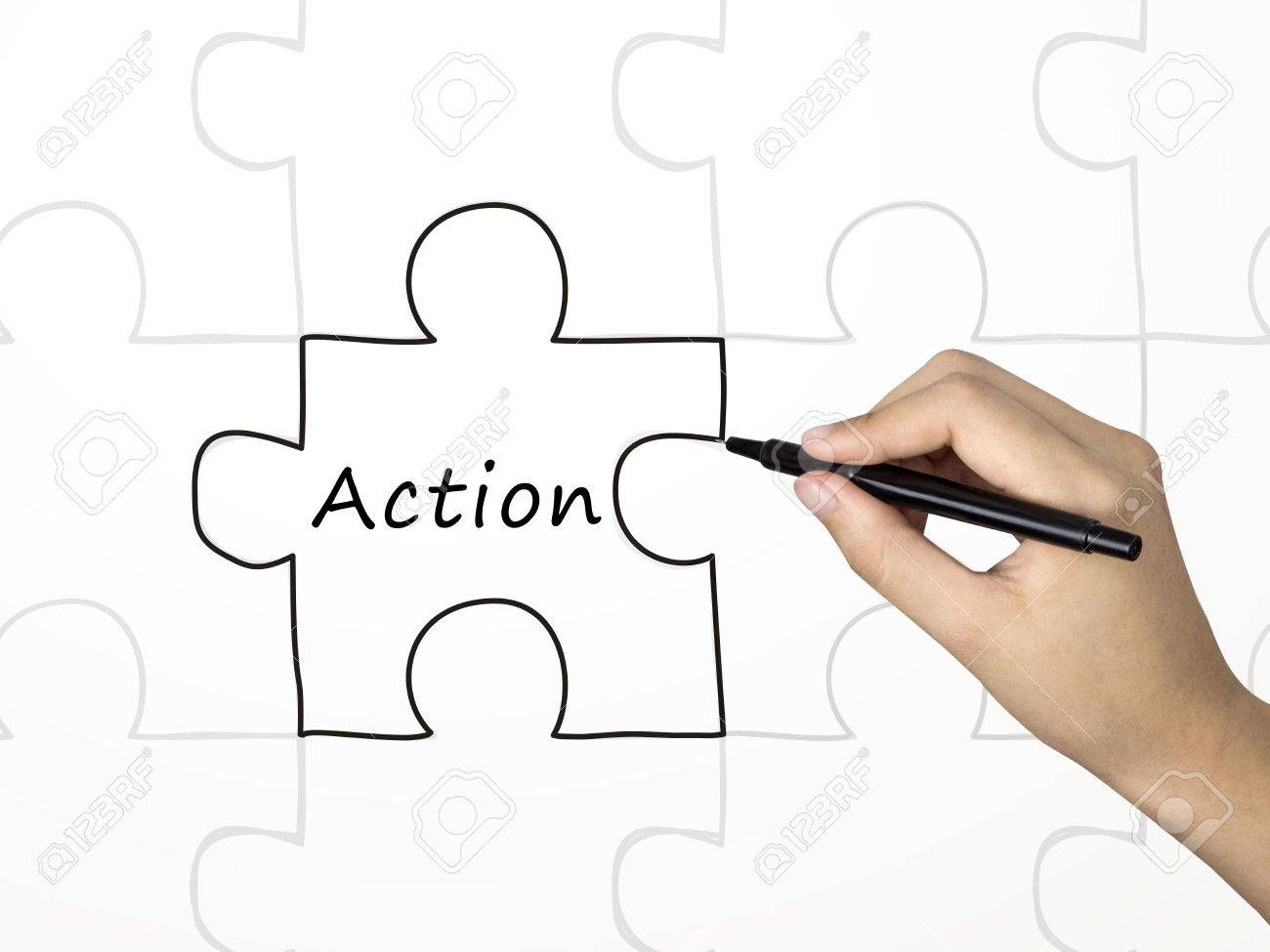 action word and puzzle drawn by human hand over white background stock photo action word and puzzle drawn by human hand over white background