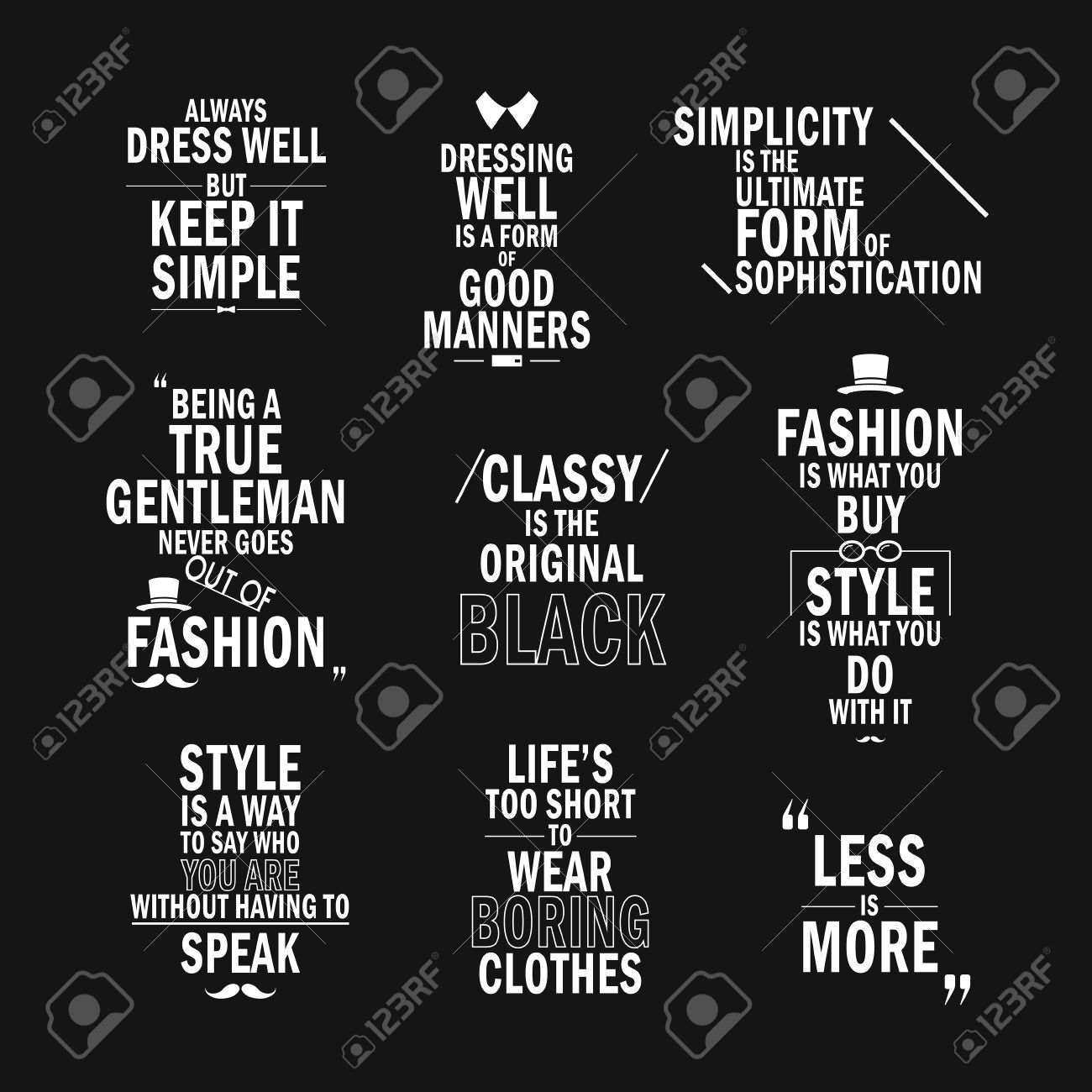 Fashion Attitude Quotes Set Isolated On Black Background Royalty