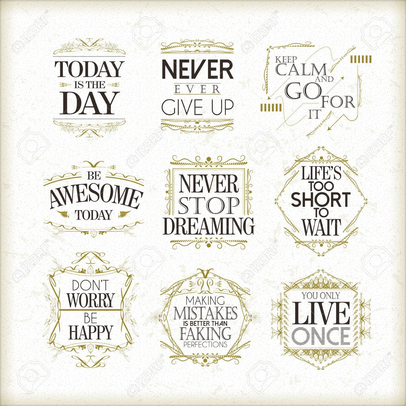 Positive Quotations About Life Positive Quotes Set Isolated On Beige Background Royalty Free