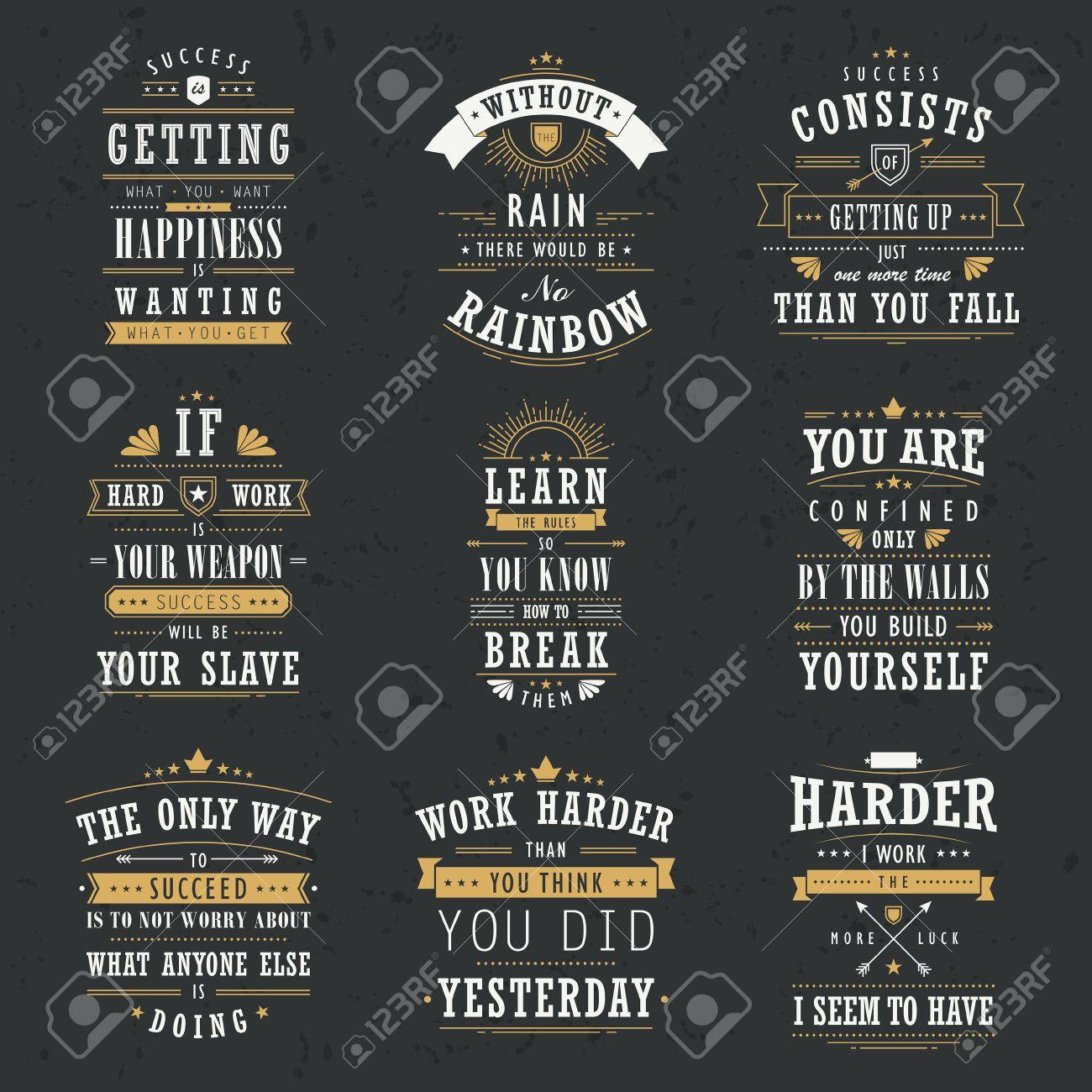 Inspirational Quotes About Success Success Motivational And Inspirational Quotes Set Isolated On