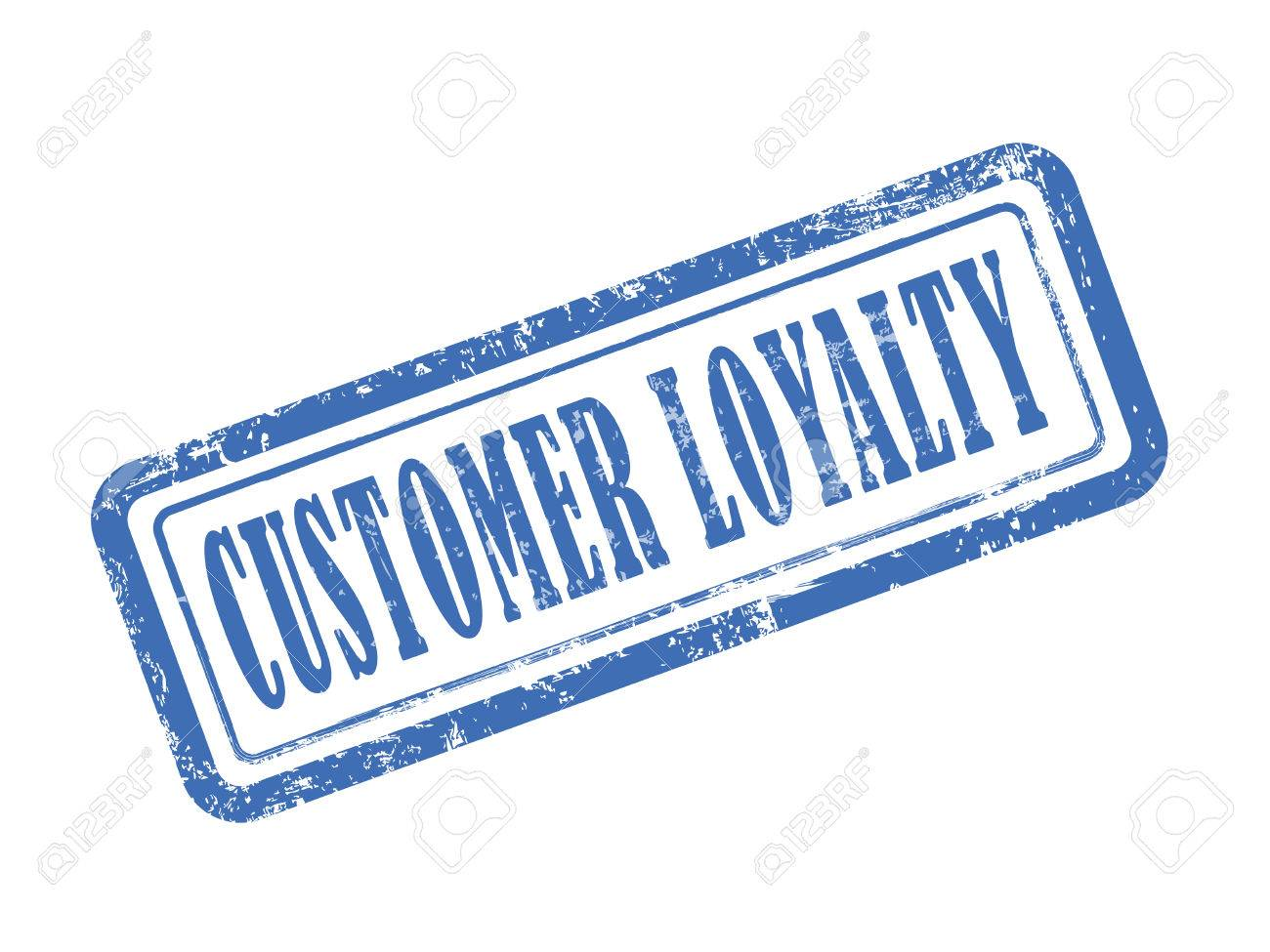 Stamp Customer Loyalty In Blue Over White Background Stock Vector