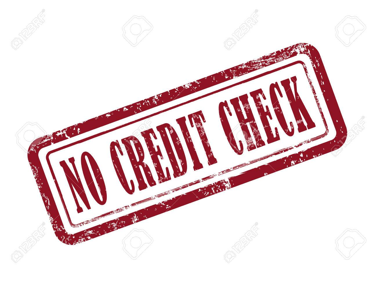 Stamp No Credit Check In Red Over White Background Royalty Free