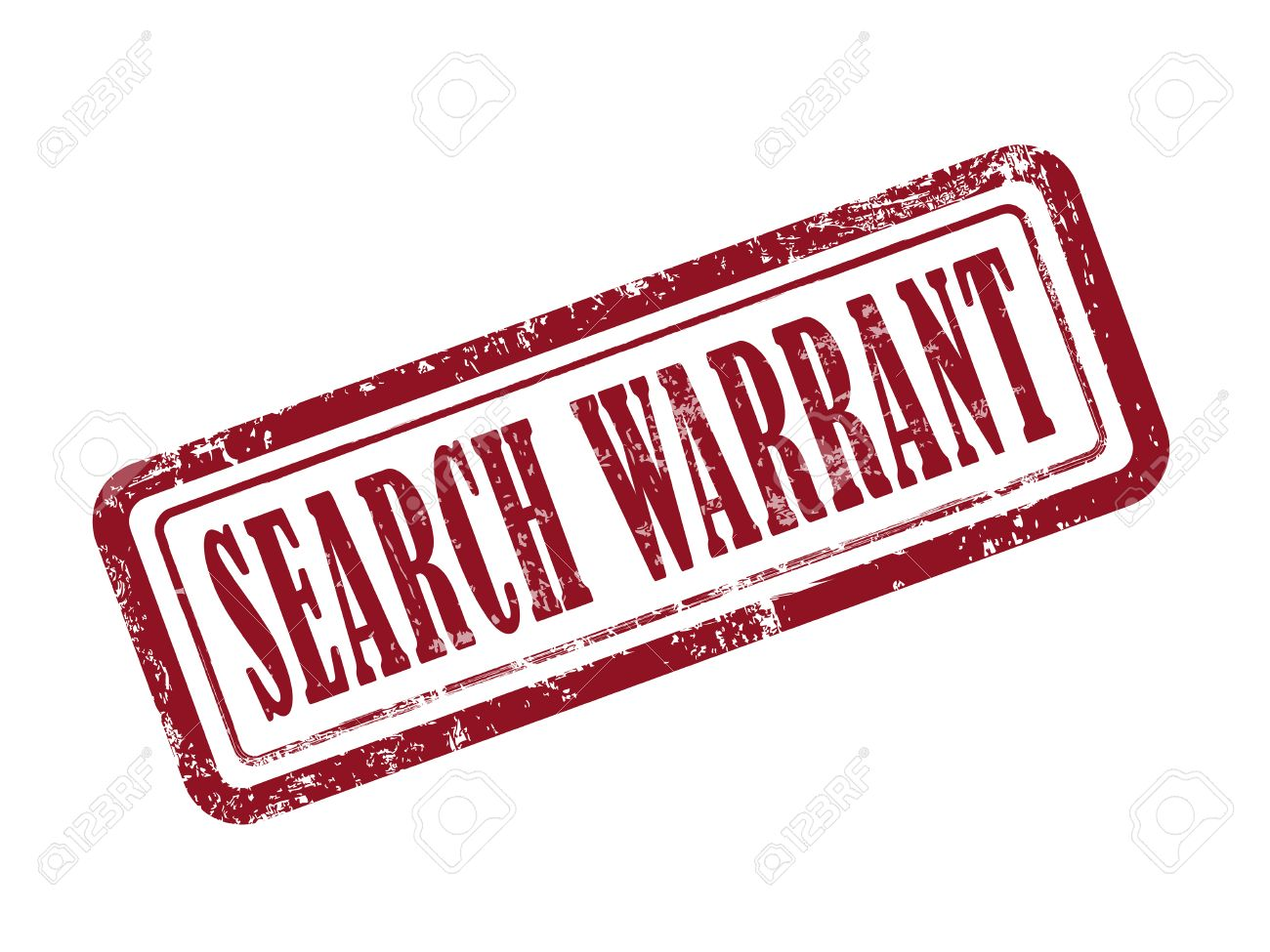 stamp search warrant in red over white background