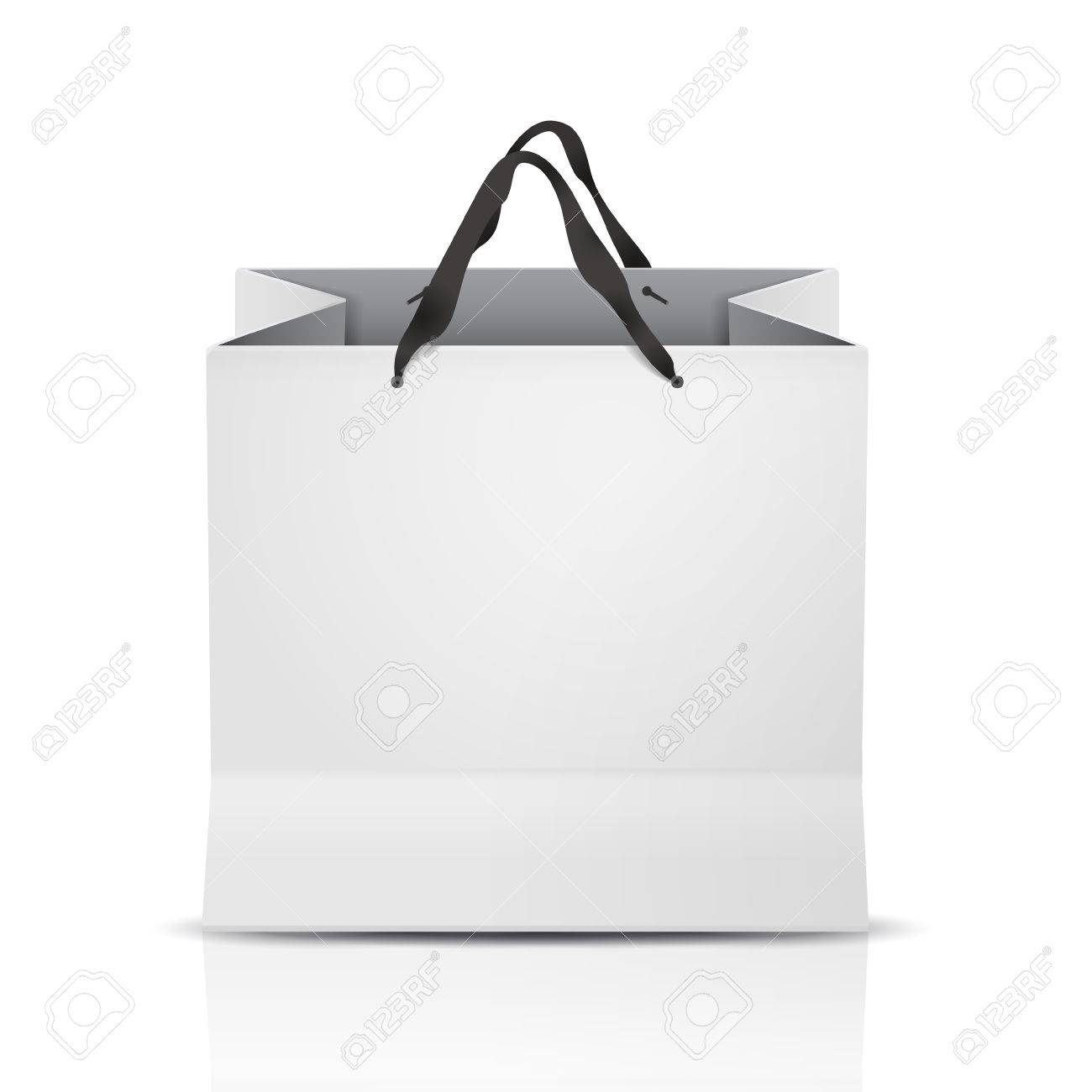 shopping bag template White Shopping Bag Template Isolated On White Royalty Free Cliparts ...