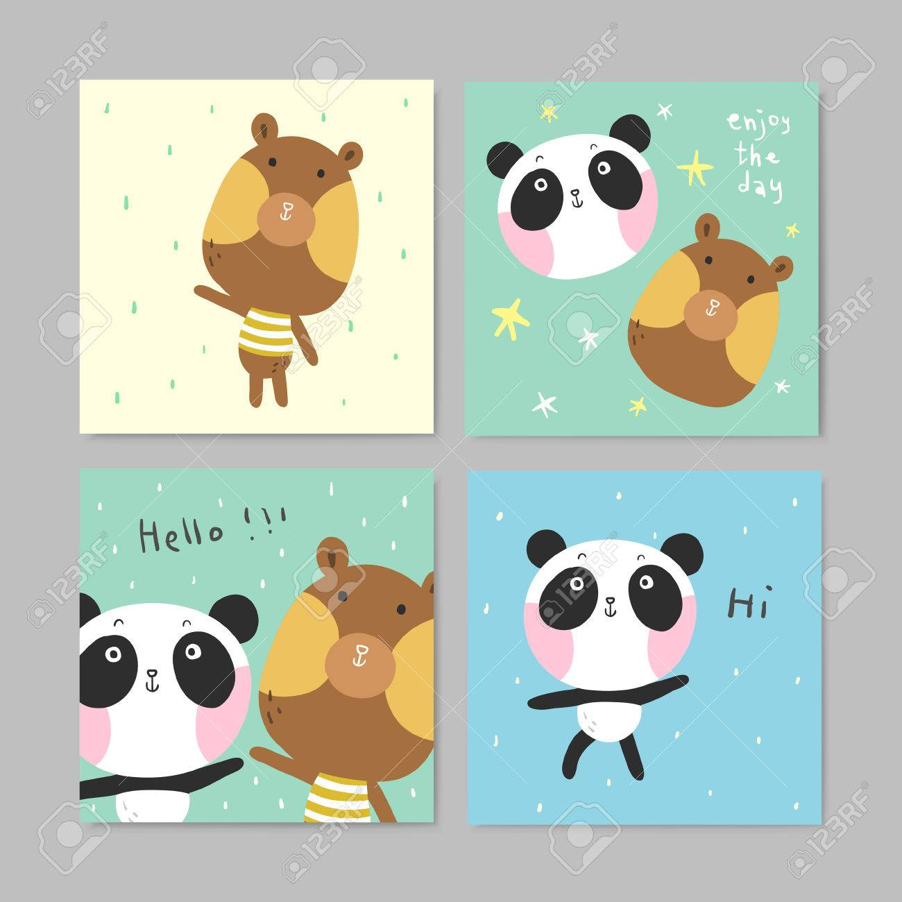 Set Of Adorable Greeting Cards With Lovely Bear And Panda In