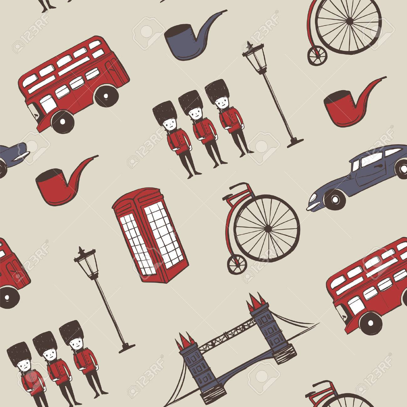 lovely hand drawn travel concept background with landmarks and