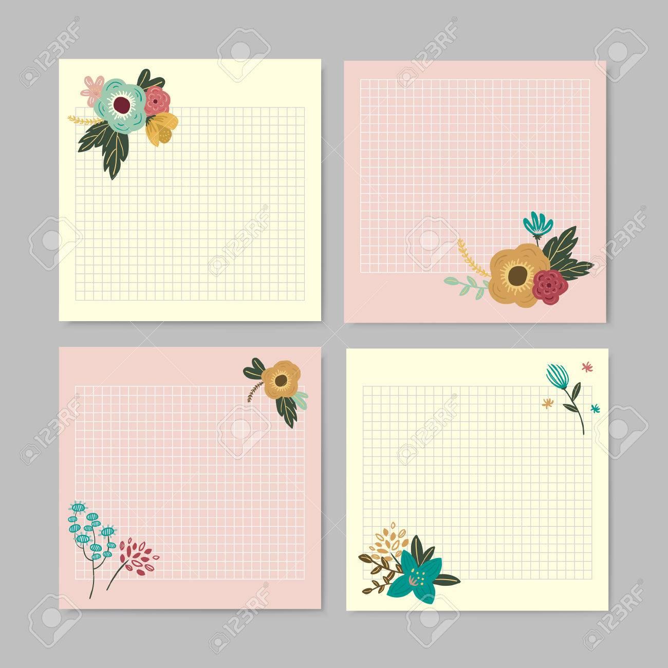 adorable hand drawn style floral memo design set royalty vector adorable hand drawn style floral memo design set