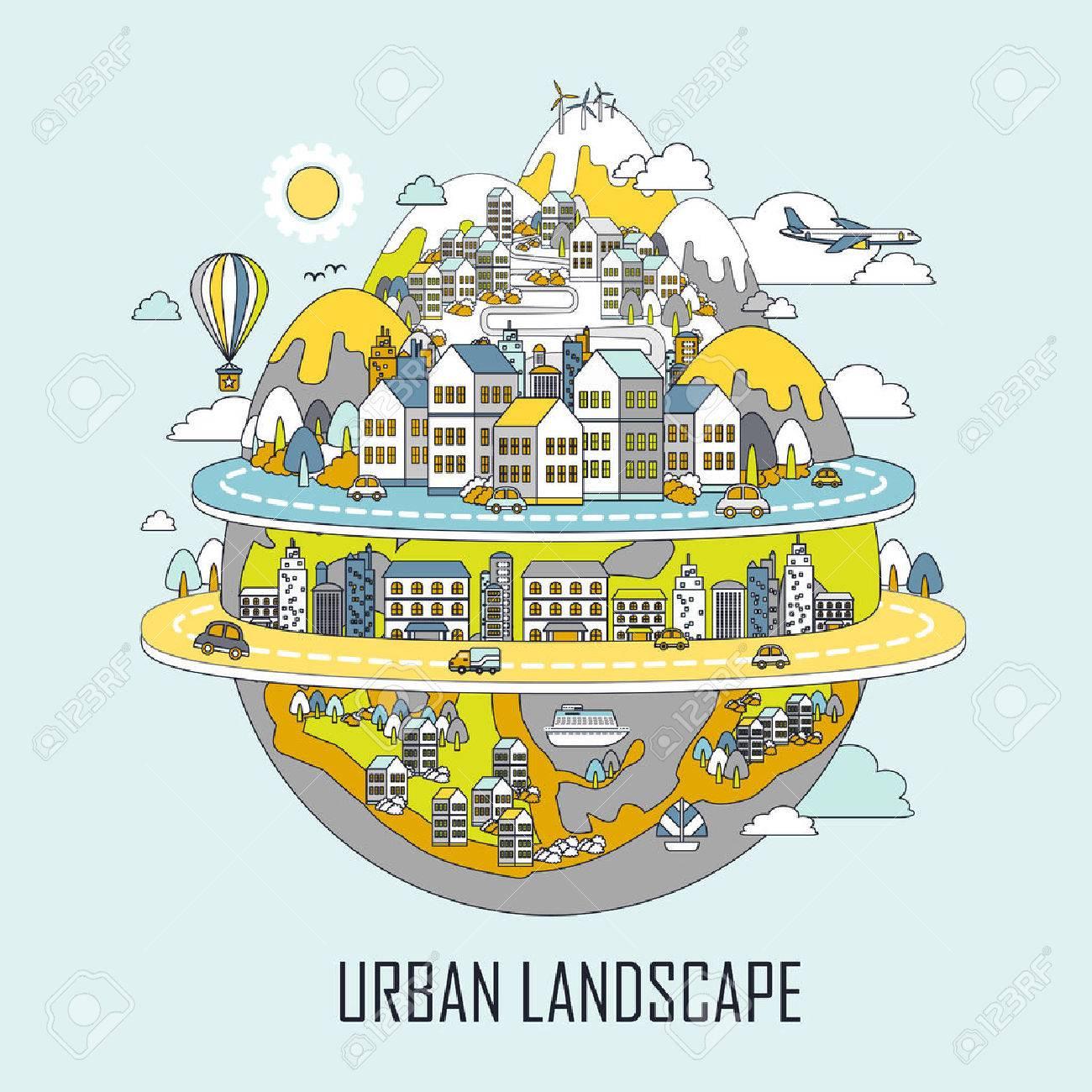 urban landscape concept: attractive city in line style - 41186987