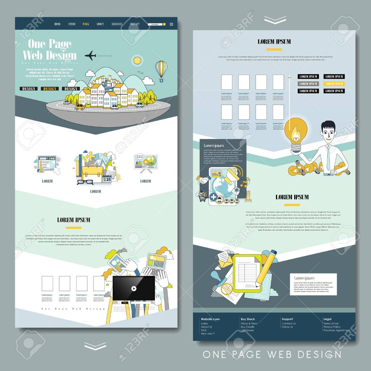 Lovely One Page Website Design Template In Flat Style Royalty Free ...