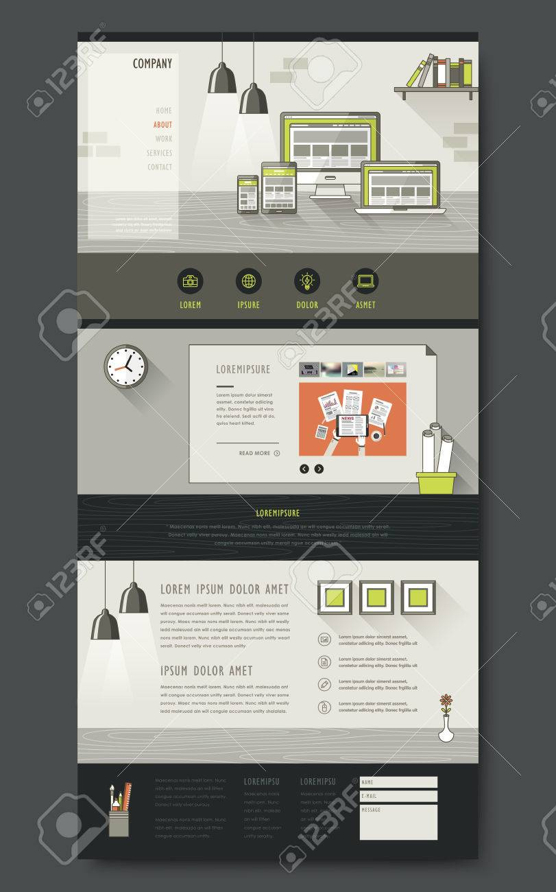 Modern One Page Website Design Template With Workplace Essentials ...